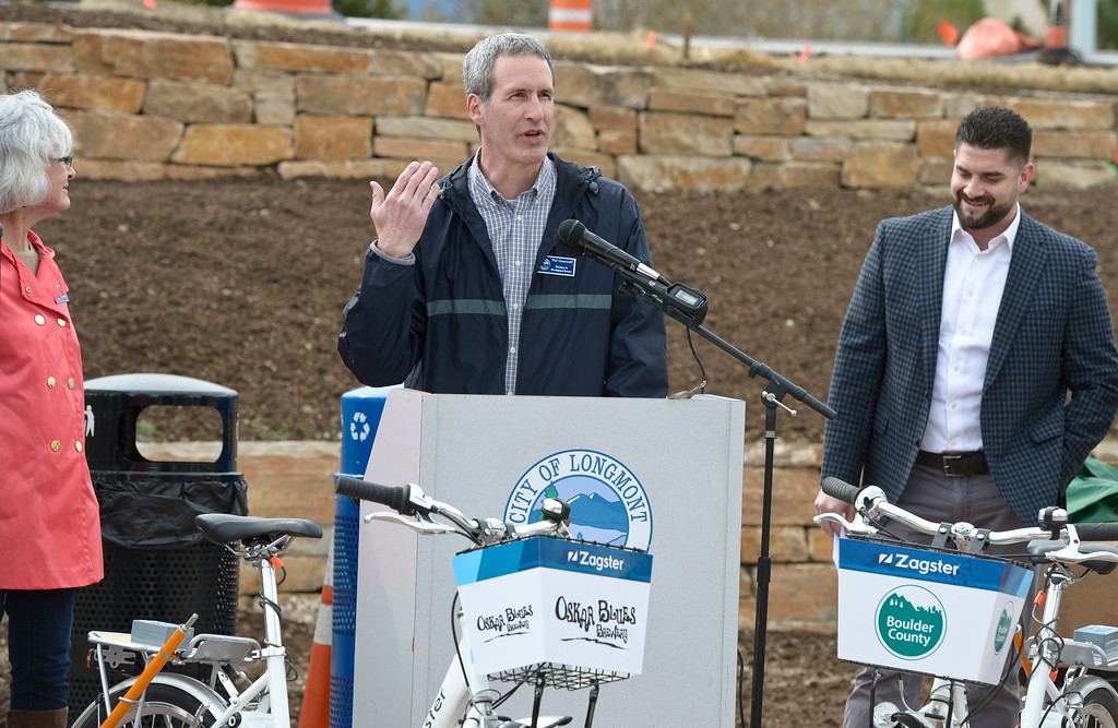 . Phil Greenwald, with the Longmont Planning and Services Department, speaks during the dedication ceremony for the new Diagonal underpass and Longmont\'s bike share program Thursday. To view a slideshow visit www.timescall.com. Lewis Geyer/Staff Photographer April 20, 2017
