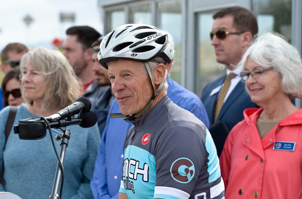 . Longmont mayor Dennis Coombs speaks during the dedication ceremony for the new Diagonal underpass and Longmont\'s bike share program Thursday. To view a slideshow visit www.timescall.com. Lewis Geyer/Staff Photographer April 20, 2017