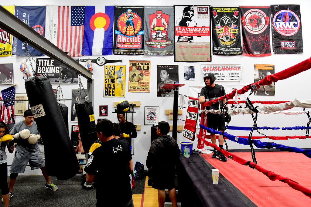 . Boxers train at La Familia boxing gym at the YMCA in Longmont, Colorado on May 2, 2018. (Photo by Matthew Jonas/Staff Photographer)