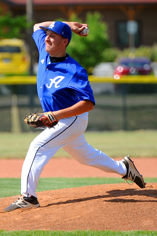 . Jackson Bakovich delivers a pitch during a Loveland Aces scrimmage on Tuesday, June 12, 2018 at Brock Field in Loveland, Colorado. (Sean Star/Loveland Reporter-Herald)