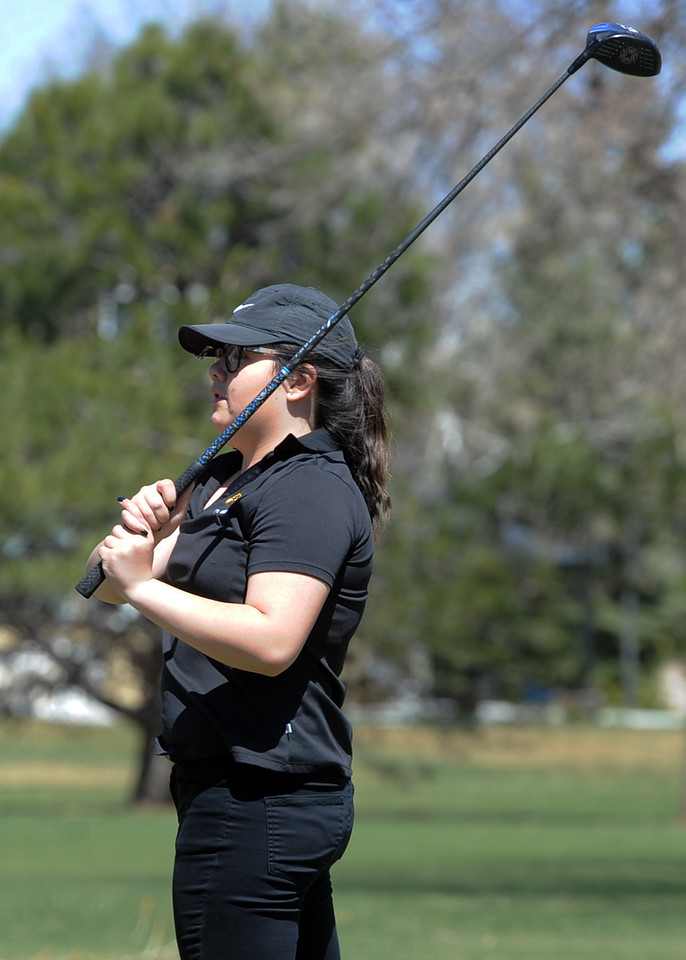 Thompson Valley's Kelley Spangler watches her tee shot during the Loveland Invitational on Wednesday, April 11, 2018 at the Olde Course at Loveland. (Sean Star/Loveland Reporter-Herald)