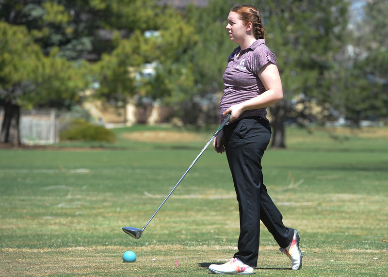 Berthoud's Isabel Gittings watches her tee shot during the Loveland Invitational on Wednesday, April 11, 2018 at the Olde Course at Loveland. (Sean Star/Loveland Reporter-Herald)