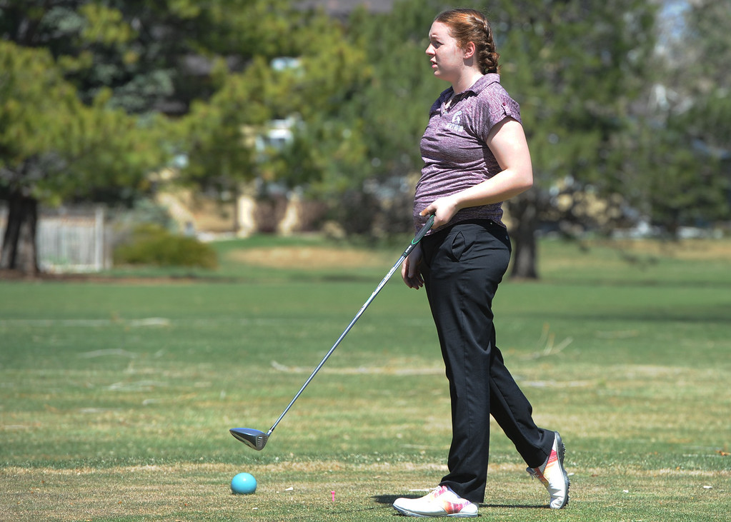 . Berthoud\'s Isabel Gittings watches her tee shot during the Loveland Invitational on Wednesday, April 11, 2018 at the Olde Course at Loveland. (Sean Star/Loveland Reporter-Herald)