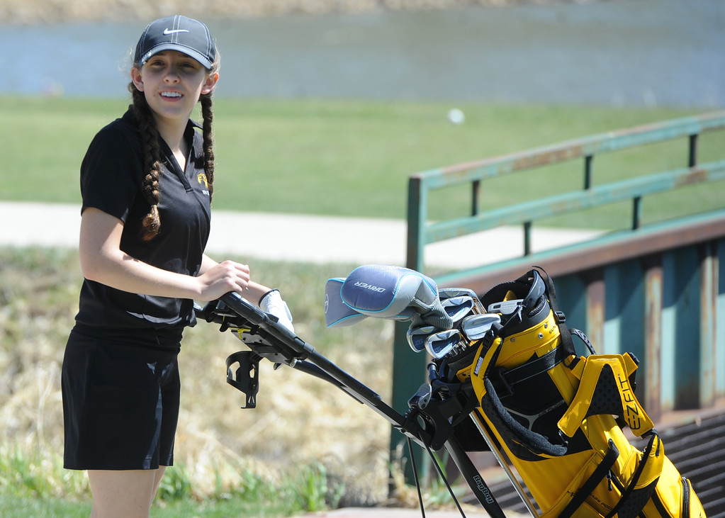 . Thompson Valley\'s Ryanna Burton heads to the 13th hole during the Loveland Invitational on Wednesday at The Olde Course at Loveland. (Sean Star/Loveland Reporter-Herald)
