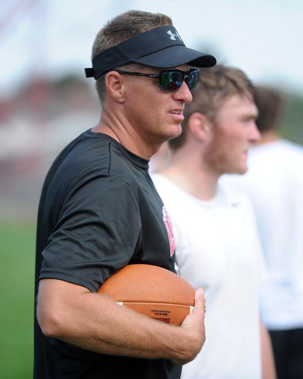 . Assistant coach Darren Rakowsky waits during the Loveland football team�s practice Thursday, Aug, 16, 2018 at Loveland High School. (Sean Star/Loveland Reporter-Herald)