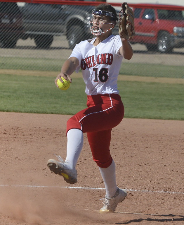 . Loveland\'s Laurin Krings winds up to throw a pitch on Saturday at Brighton.