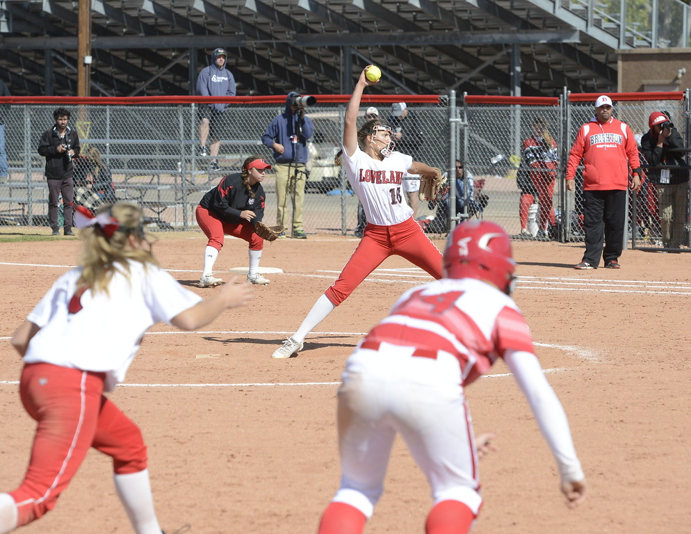 . Loveland sophomore Laurin Krings delivers a pitch during a regional title game at Brighton on Saturday.