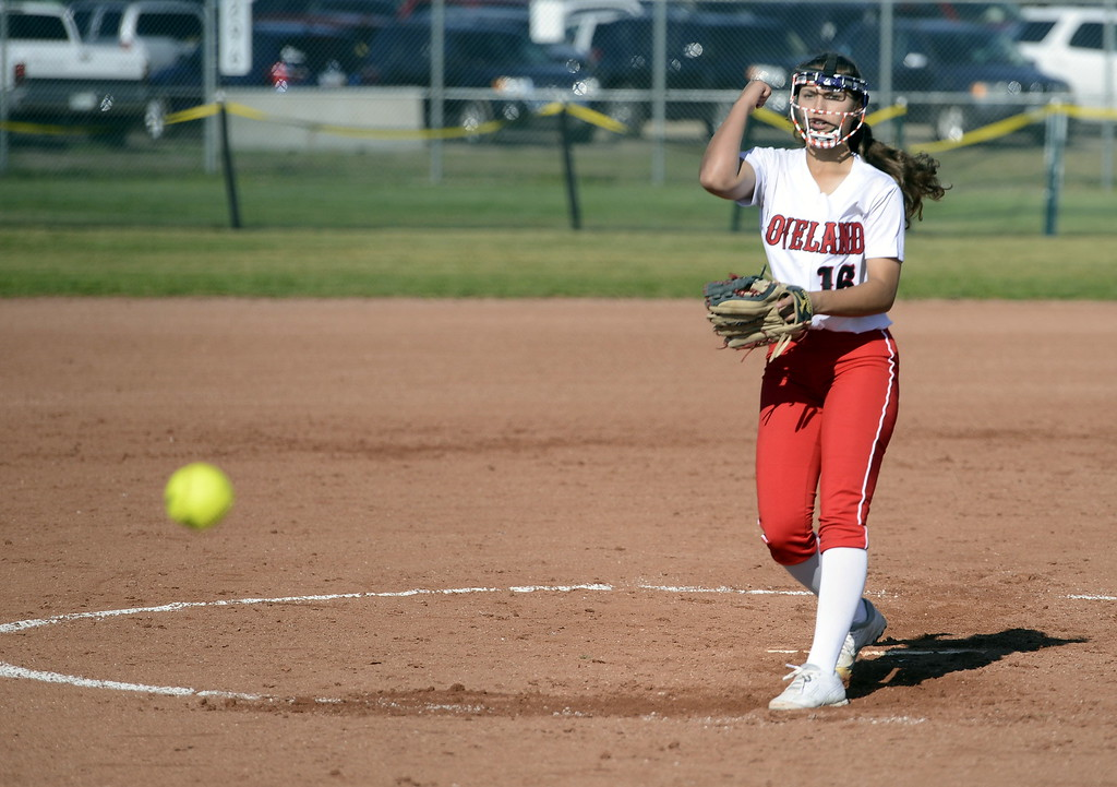 . Loveland sophomore Laurin Krings delivers a pitch during the 5A Region 8 tournament on Saturday at Brighton High School.
