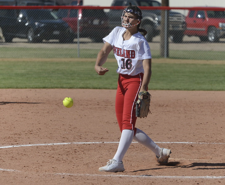 Loveland's Laurin Krings delivers a pitch on Saturday at Brighton.
