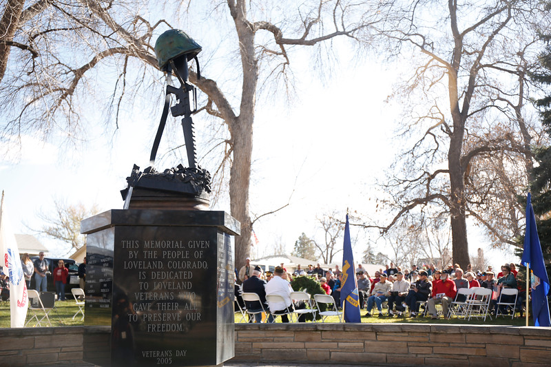 The veterans memorial during the Veterans Day parade ceremony on Saturday, Nov. 11, 2017, at Dwayne Webster Veterans Park in Loveland. (Photo by Lauren Cordova/Loveland Reporter-Herald)