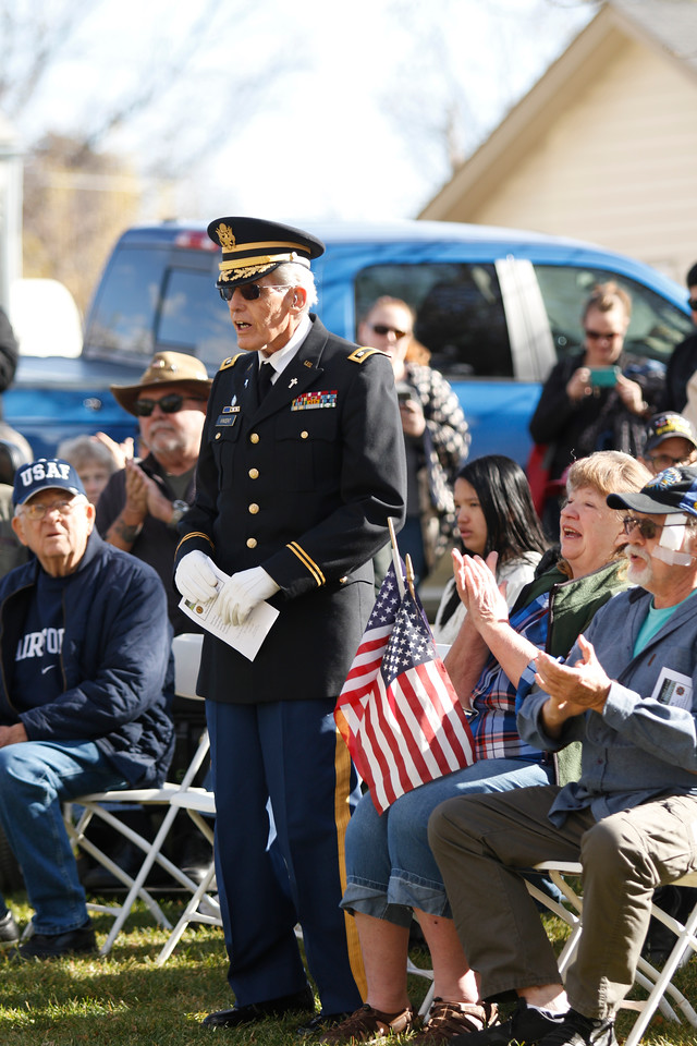 Veteran James Vincent stands to sing the Army Song on Saturday, Nov. 11, 2017, at the Veterans Day ceremony at Dwayne Webster Veterans Park in Loveland. Vincent served for 27 years in both the Army and the Marine Corps. (Photo by Lauren Cordova/Loveland Reporter-Herald)