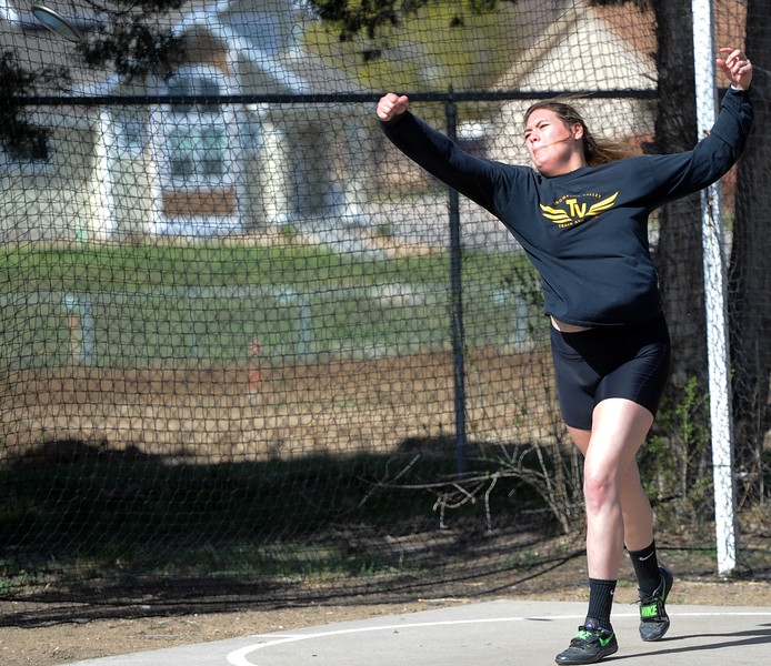 Thompson Valley's Cindy Ybarra tosses the disc during the Spartan Spike No. 2 on Thursday at Berthoud High School. (Sean Star/Loveland Reporter-Herald)
