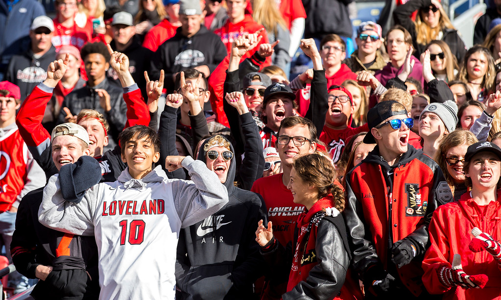 . Loveland fans cheer their team against Skyline Saturday afternoon Dec., 1, 2018 during the CHSAA 4A State Championship game at Broncos Stadium in Denver. The Loveland Indians won, beating the Skyline Falcons 62-14. (Michael Brian/For the Reporter-Herald)