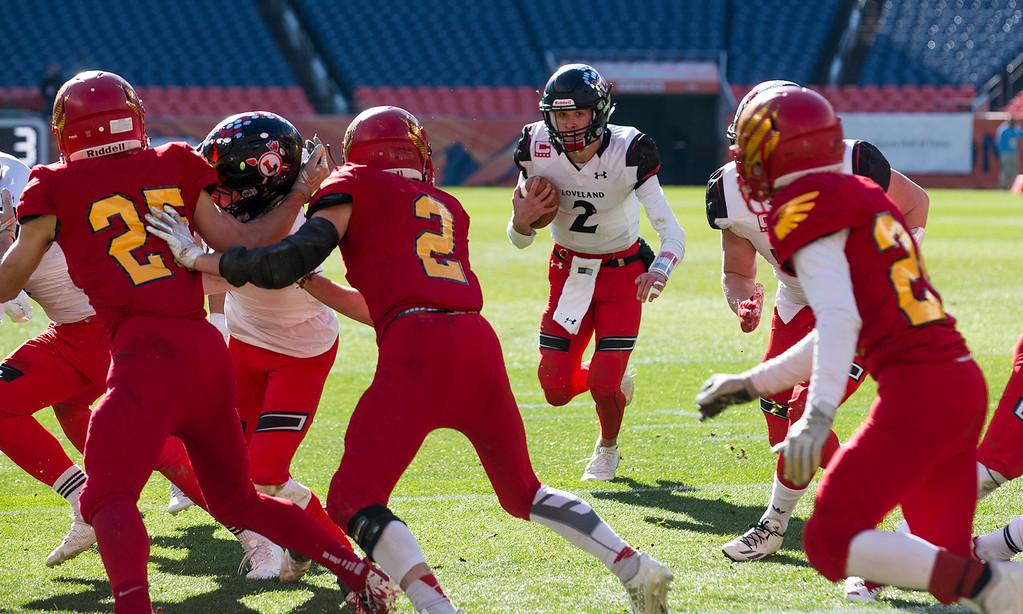 . Loveland\'s Riley Kinney (2) heads for the end zone against Skyline Saturday afternoon Dec., 1, 2018 during the CHSAA 4A State Championship game at Broncos Stadium in Denver. The Loveland Indians won, beating the Skyline Falcons 62-14. (Michael Brian/For the Reporter-Herald)