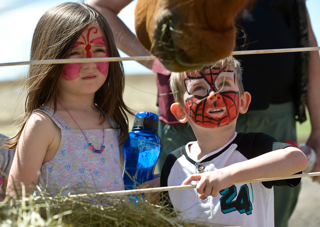 . ERIE, CO - APRIL 28: Holland Zylstra, 6, and her brother Burke Zylstra, 4, watch a horse eat hay during the Luvin Arms Animal Sanctuary Springfest April 28, 2019. (Photo by Lewis Geyer/Staff Photographer)