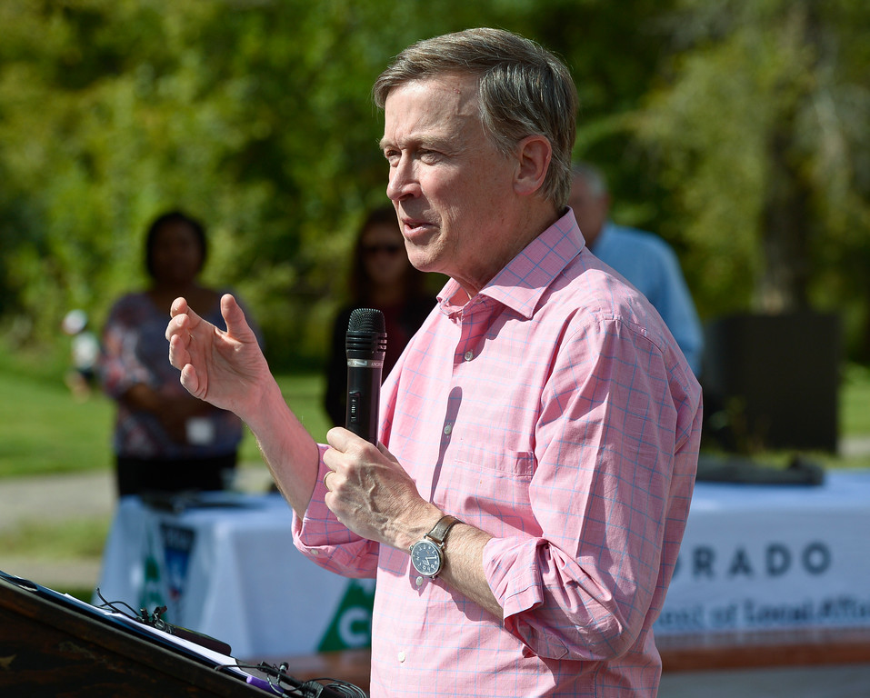 . LYONS, CO - SEPTEMBER 10, 2018: Colorado governor John Hickenlooper speaks during the five year flood commemoration in Bohn Park Sept. 10. The event also included a tree planting and dedication with Governor Hickenlooper and the Gerry Boland family. (Photo by Lewis Geyer/Staff Photographer)