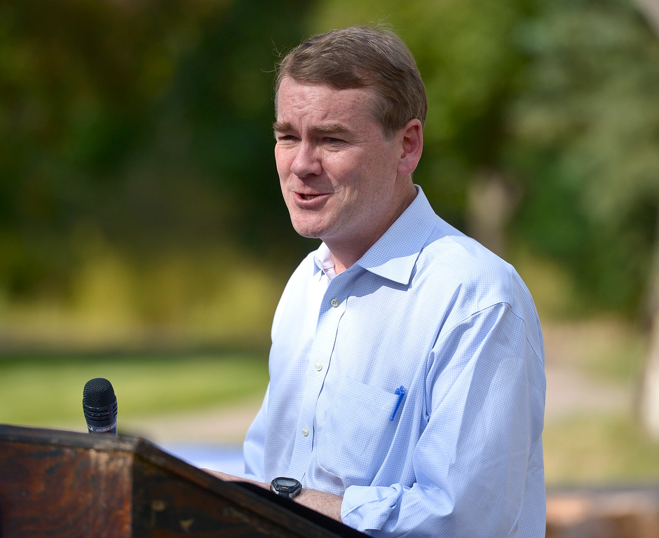 . LYONS, CO - SEPTEMBER 10, 2018: U.S. Sen. Michael Bennet speaks during the five year flood commemoration in Bohn Park Sept. 10. The event also included a tree planting and dedication with  Colorado governor John Hickenlooper and the Gerry Boland family. (Photo by Lewis Geyer/Staff Photographer)