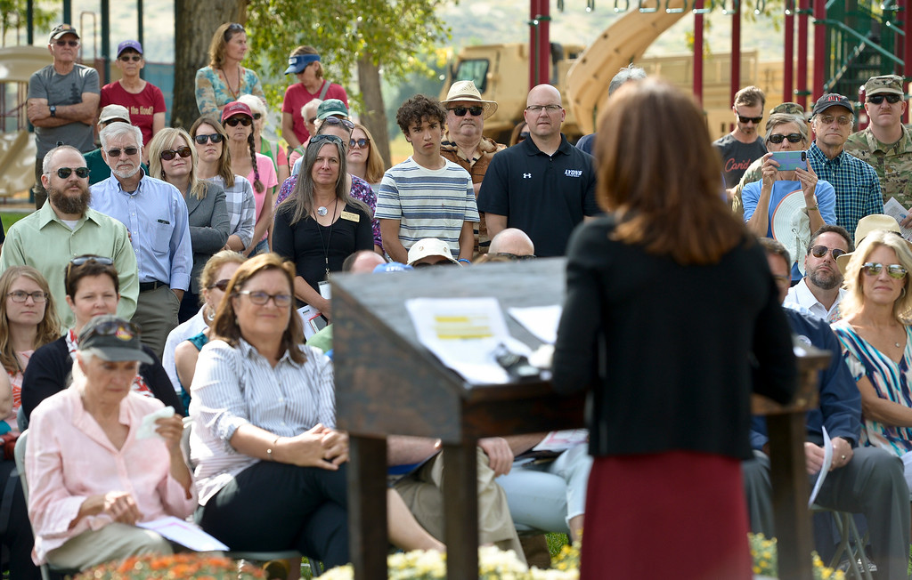 . LYONS, CO - SEPTEMBER 10, 2018: Mayor Connie Sullivan speaks during the five year flood commemoration in Bohn Park Sept. 10. The event also included a tree planting and dedication with Colorado governor John Hickenlooper and the Gerry Boland family. (Photo by Lewis Geyer/Staff Photographer)