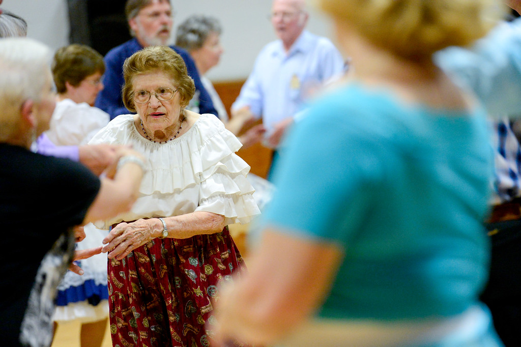 . LaVern Johnson, 89, square dances with the Red Rock Ramblers square dancing group on Saturday at Lyons Elementary School gymnasium. LaVern attributes part of her long life to square-dancing. Johnson turns 90 years old on July 23. More photos: timescall.com. Matthew Jonas/Staff Photographer July 15,  2017