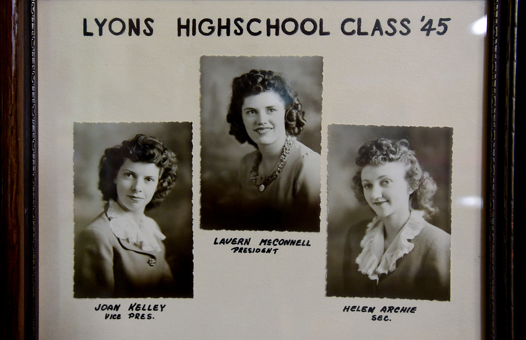 . LaVern Johnson, 89, then LaVern McConnell, is seen in a Lyons High School class of 1945 photo on Thursday at Lyons Redstone Museum. According to Johnson, out of the three women pictured, she is the only surviving female member of her graduating class. Johnson turns 90 years old on July 23.  Matthew Jonas/Staff Photographer July 13,  2017