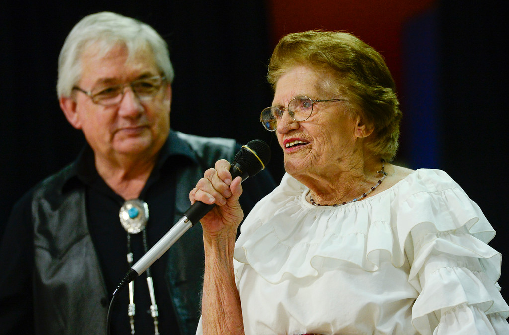 . LaVern Johnson, 89, right, makes announcements before the start of the Red Rock Ramblers square dancing group on Saturday at Lyons Elementary School gymnasium. LaVern attributes part of her long life to square-dancing. Johnson turns 90 years old on July 23. More photos: timescall.com. Matthew Jonas/Staff Photographer July 15,  2017