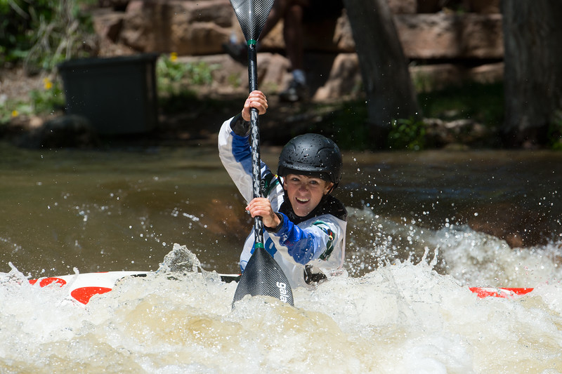 "Charlie Sutcliffe competes in the kayak slalom as part of the Lyons Outdoor Games at Black Bear Hole in Bohn Park on Saturday. <br /> More photos:  <a href=""http://www.dailycamera.com"">http://www.dailycamera.com</a><br /> (Autumn Parry/Staff Photographer)<br /> June 4, 2016"