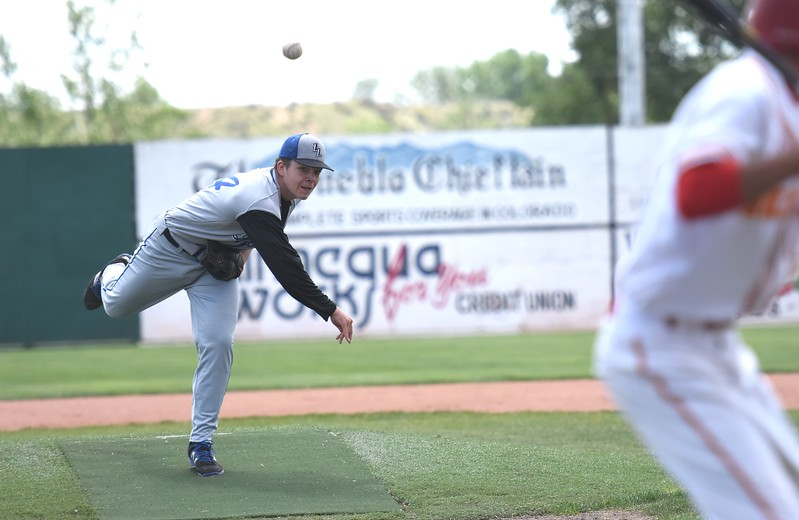 Lyons starting pitcher Austen Clark delivers a pitch during the Lions' Class 2A state semifinal game against Rocky Ford on Saturday at Runyon Field Sports Complex in Pueblo.