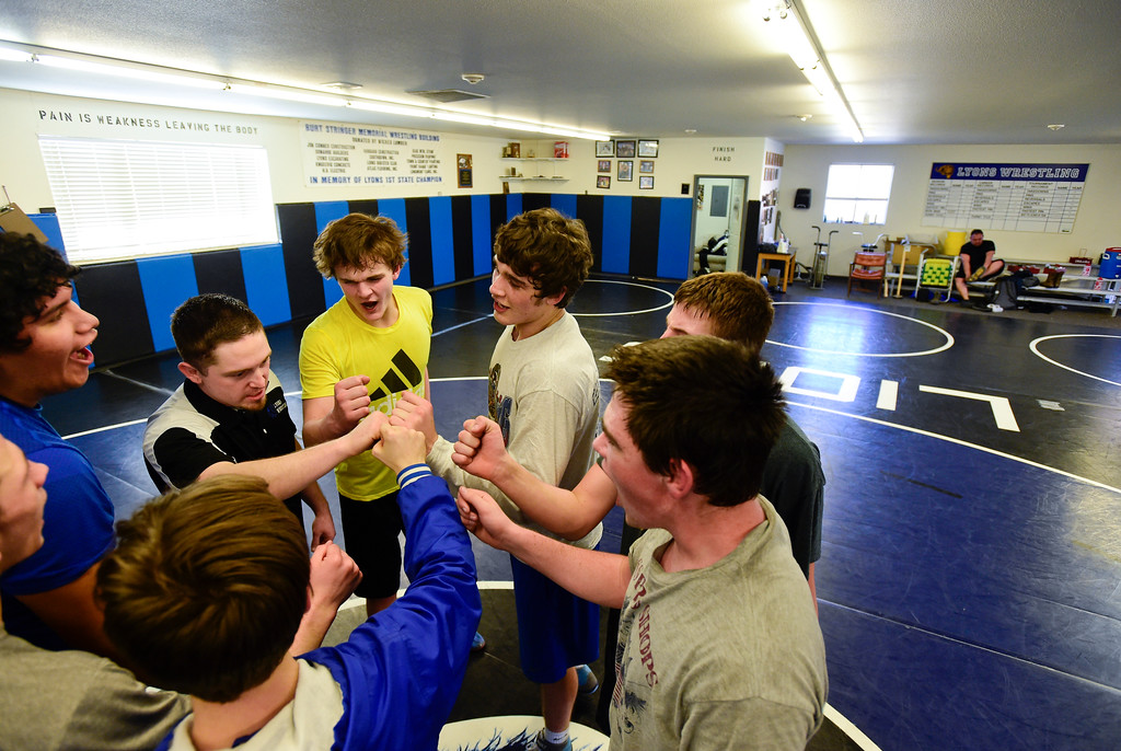. Lyons wrestlers rally after the last practice before the upcoming state competition on Wednesday. More photos: BoCoPreps.com. Matthew Jonas/Staff Photographer Feb. 15, 2017