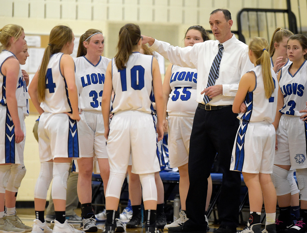 . LYONS, CO - JANUARY 10: Lady Lions coach Marcus Richardson talks with his team during a timeout against the Eagles in the first quarter January 10, 2019 at Lyons Middle/Senior High School. To view more photos visit bocopreps.com. (Photo by Lewis Geyer/Staff Photographer)