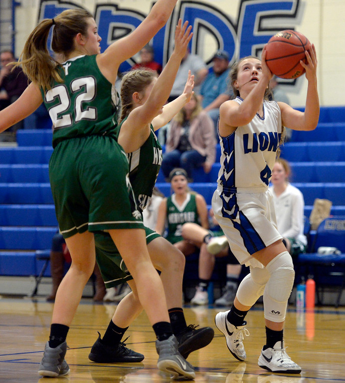 . LYONS, CO - JANUARY 10: Lion Avery Joy takes a shot against the Eagles in the first quarter January 10, 2019 at Lyons Middle/Senior High School. To view more photos visit bocopreps.com. (Photo by Lewis Geyer/Staff Photographer)