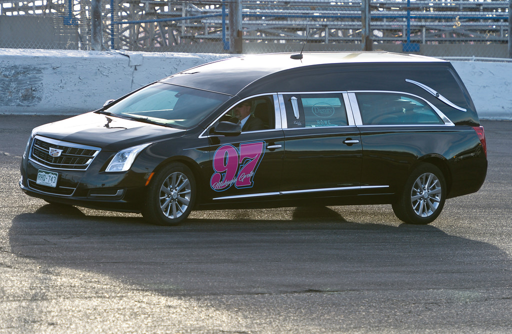 . A hearse containing the ashes of Makayla Grote drives on the track at Colorado National Speedway at the conclusion of Makayla\'s memorial service Sunday afternoon. To view more photos and a video visit timescall.com. Lewis Geyer/Staff Photographer Nov. 26, 2017