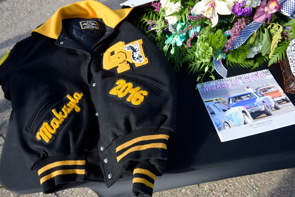 . Makayla Grote\'s high school coat is displayed during her memorial service at Colorado National Speedway Sunday afternoon. To view more photos and a video visit timescall.com. Lewis Geyer/Staff Photographer Nov. 26, 2017