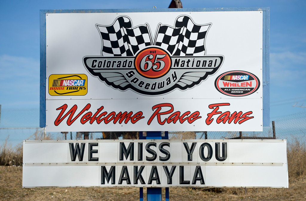 . The sign at the entrance of Colorado National Speedway Sunday afternoon. To view more photos and a video visit timescall.com. Lewis Geyer/Staff Photographer Nov. 26, 2017