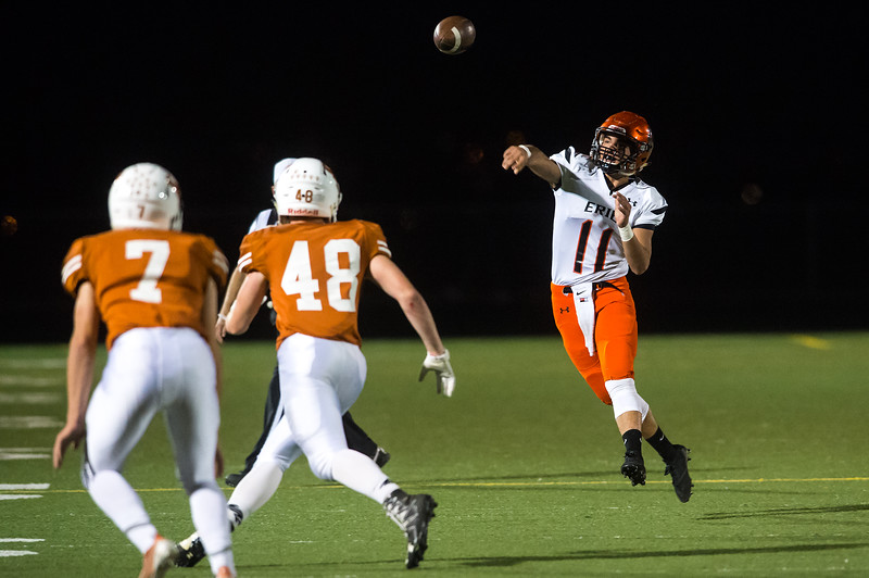"Erie's Ruben Portillo II passes the ball during the game against Mead at Mead High School on Friday. <br /> More photos:  <a href=""http://www.BoCoPreps.com"">http://www.BoCoPreps.com</a><br /> (Autumn Parry/Staff Photographer)<br /> October 28, 2016"