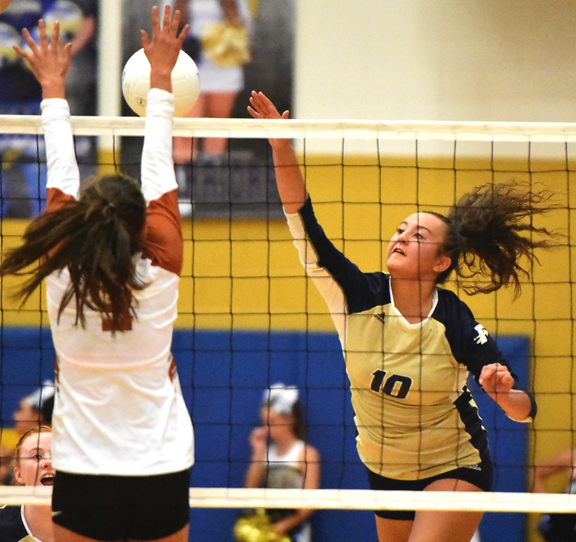 . Frederick\'s Leilani Purcell hits against Mead during the teams\' match on Tuesday, Sept. 11, at Frederick High School.
