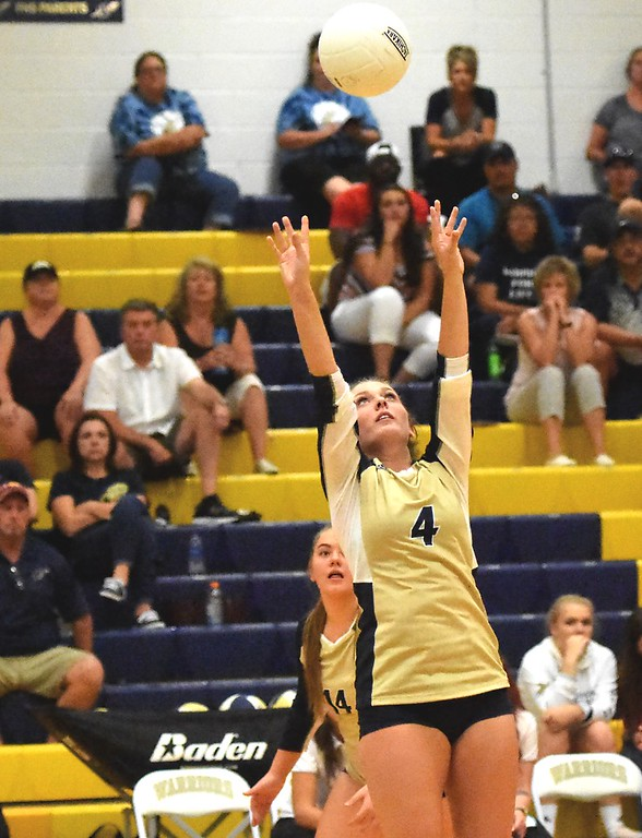 . Frederick\'s Josi Revielle passes to a teammate against Mead during the teams\' match on Tuesday, Sept. 11, at Frederick High School.