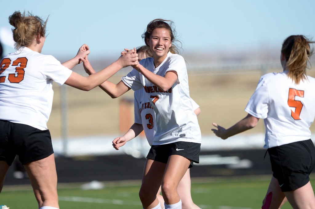 . MEAD, CO - MARCH 15: Mead\'s Haley Williams celebrates her first half goal with her teammates during the match against Niwot at Mead High School March 15, 2019. To view more photos visit bocopreps.com. (Photo by Lewis Geyer/Staff Photographer)