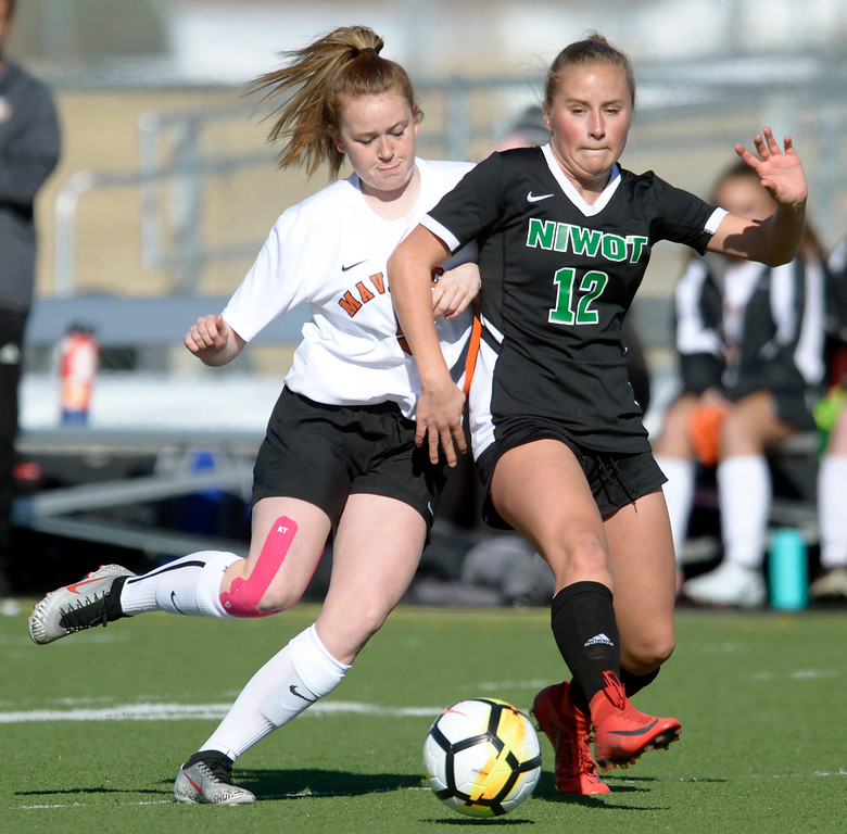 . MEAD, CO - MARCH 15: Mead\'s Allison Seery chases Niwot\'s Lauren Squire in the first half at Mead High School March 15, 2019. To view more photos visit bocopreps.com. (Photo by Lewis Geyer/Staff Photographer)