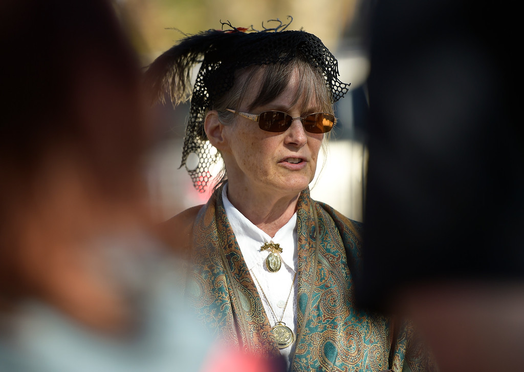 . BOULDER, CO - OCTOBER 21: Wendy Hall plays the role of Clara Savory, Boulder\'s first librarian, during Meet the Spirits event at Columbia Cemetery Oct. 21, 2018. The cemetery is listed on the State and National Register of Historic Places. (Photo by Lewis Geyer/Staff Photographer)