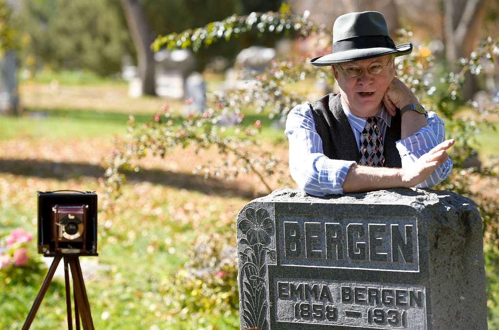 . BOULDER, CO - OCTOBER 21: Chuck Sanders acts as Eben G. Fine, a pharmacist and photographer, during Historic Boulder\'s Meet the Spirits event at Columbia Cemetery Oct. 21, 2018. The cemetery is listed on the State and National Register of Historic Places. (Photo by Lewis Geyer/Staff Photographer)