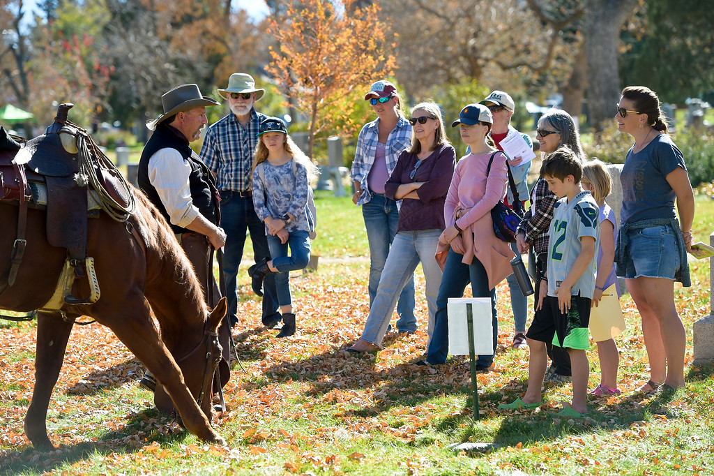 . BOULDER, CO - OCTOBER 21: Jerry Katopodes, left, plays the role of Martin Parsons, Boulder\'s first park ranger, during Historic Boulder\'s Meet the Spirits event at Columbia Cemetery Oct. 21, 2018. The cemetery is listed on the State and National Register of Historic Places. (Photo by Lewis Geyer/Staff Photographer)