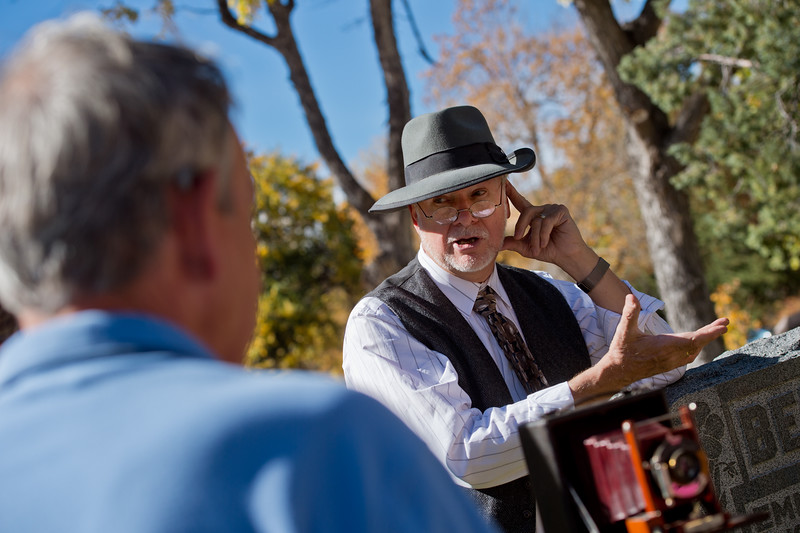 "Chuck Sanders re-enacts Eben G. Fine during Meet the Spirits at Columbia Cemetery in Boulder on Sunday. <br /> More photos:  <a href=""http://www.dailycamera.com"">http://www.dailycamera.com</a><br /> (Autumn Parry/Staff Photographer)<br /> October 16, 2016"