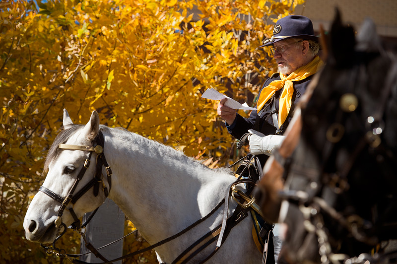"""Dick Werpy, with the Buffalo Soldiers of the American West, pays tribute to Edward Baker, a fallen buffalo soldier, during Meet the Spirits at Columbia Cemetery in Boulder on Sunday. <br /> More photos:  <a href=""""http://www.dailycamera.com"""">http://www.dailycamera.com</a><br /> (Autumn Parry/Staff Photographer)<br /> October 16, 2016"""