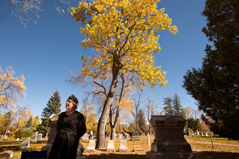 """Lise Cordsen re-enacts Hortense Whiteley Hellems, who was a victim of a car accident, during Meet the Spirits at Columbia Cemetery in Boulder on Sunday. <br /> More photos:  <a href=""""http://www.dailycamera.com"""">http://www.dailycamera.com</a><br /> (Autumn Parry/Staff Photographer)<br /> October 16, 2016"""