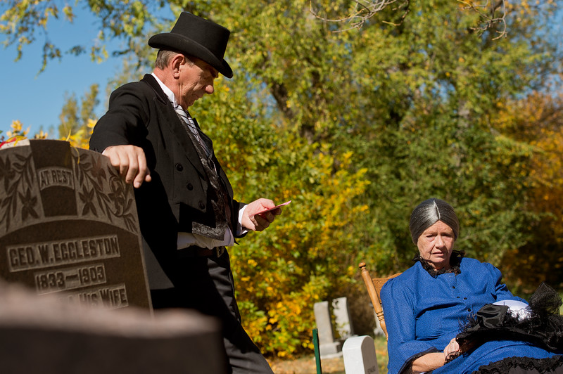 """Dave Straub and Sharman Straub share the story of Sara and G.W. Eggleston during Meet the Spirits at Columbia Cemetery in Boulder on Sunday. <br /> More photos:  <a href=""""http://www.dailycamera.com"""">http://www.dailycamera.com</a><br /> (Autumn Parry/Staff Photographer)<br /> October 16, 2016"""