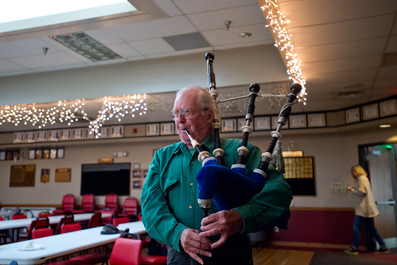 "Musician Chris Doyle plays the bagpipes during the jam session as part of the celebration of life gathering for  Ward Harston, at the Moose Lodge in Longmont on Sunday. Ward, a renowned musician and music teacher in the area, passed away in March.<br /> More photos:  <a href=""http://www.dailycamera.com"">http://www.dailycamera.com</a><br /> Autumn Parry/Staff Photographer<br /> May 15, 2016"
