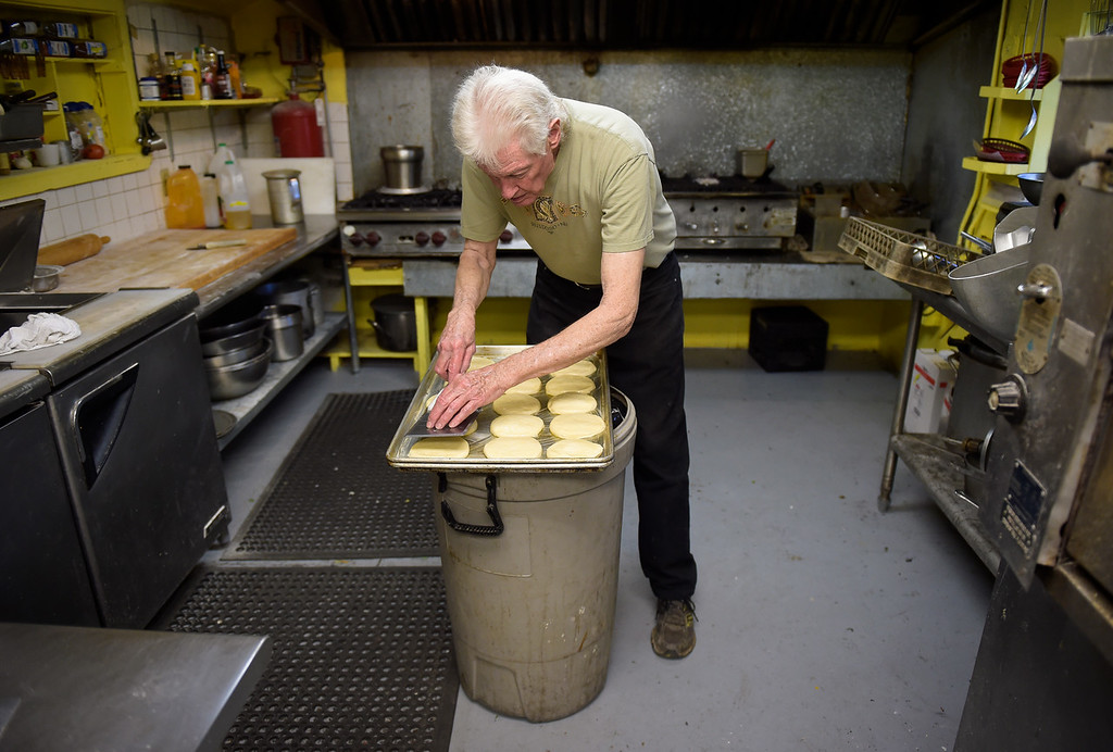 . WARD, CO - SEPTEMBER 13, 2018: Kirk Byers makes homemade hamburger buns at the Millsite Inn in Ward Sept. 13. The historic restaurant, which opened in the mid-late 1930s, is closing at the end of this month. (Photo by Lewis Geyer/Staff Photographer)
