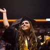 """Stefany Thompson waves to family and friends in the audience during the commencement ceremony for Monarch High School at 1stBank Center in Broomfield on Friday.<br /> More photos:  <a href=""""http://www.dailycamera.com"""">http://www.dailycamera.com</a><br /> Autumn Parry/Staff Photographer<br /> May 20, 2016"""