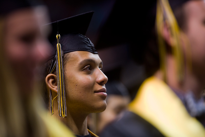 "Terrell Jones listens to student speakers Sean Connolly and Nathan Inge during the commencement ceremony for Monarch High School at 1stBank Center in Broomfield on Friday.<br /> More photos:  <a href=""http://www.dailycamera.com"">http://www.dailycamera.com</a><br /> Autumn Parry/Staff Photographer<br /> May 20, 2016"