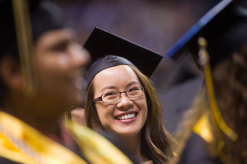 "Michelle Lee listens to student speaker Abby Pelsmaeker address the class of 2016 during Monarch High School's commencement ceremony at 1stBank Center in Broomfield on Friday.<br /> More photos:  <a href=""http://www.dailycamera.com"">http://www.dailycamera.com</a><br /> Autumn Parry/Staff Photographer<br /> May 20, 2016"